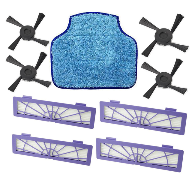 9 pcs/lot Mopping Cloth mop & HEPA Fillter & Side Brush replacement for Neato botvac 75 75e 80 85 Vacuum Cleaners 10 pieces lot replacement neato botvac side brush for 70e 75 80 85 vacuum cleaner parts neato botvac side brush brand new
