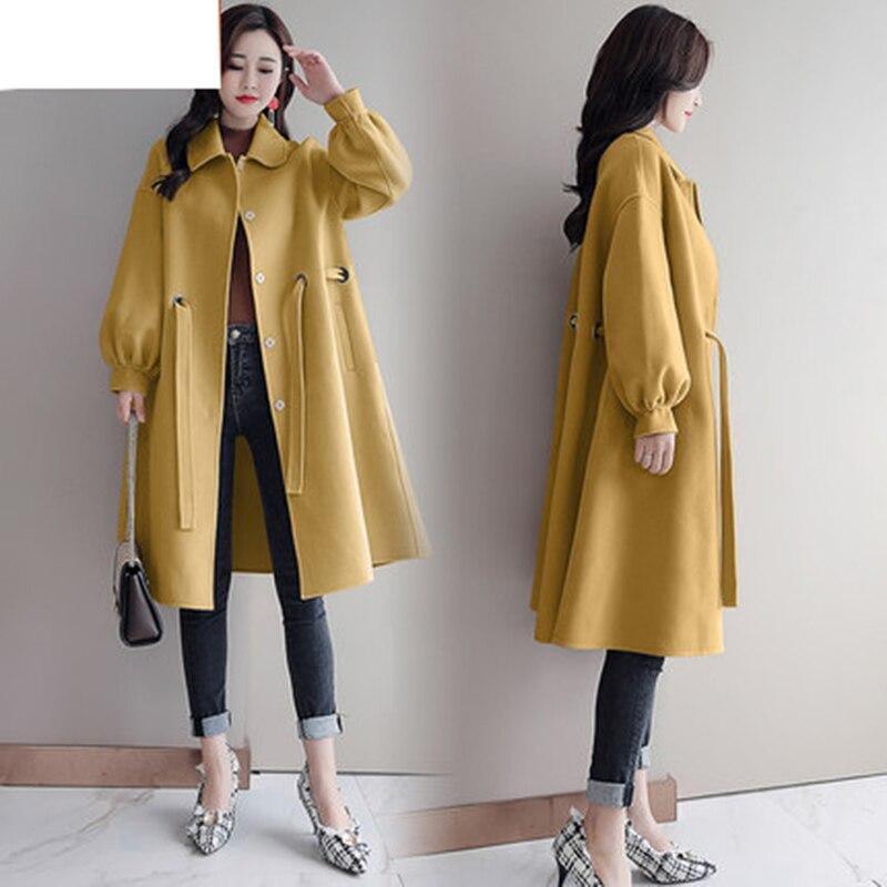 Grande La Vêtements yellow 2018 Mode Hiver Lâche Femmes white red Taille Femelle creamy Blue Coréen Laine De Chaleur Épaisse Longue Manteau Élégant vfyb6gY7