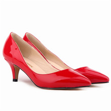 Women Pumps Spring Summer candy colors Red Bottom patent leather Pointed Toe Stiletto heel Bridesmaid shoes 16 Color Height 5 cm