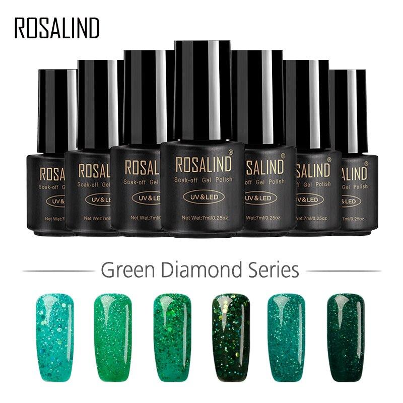 Гель-лак для ногтей ROSALIND 1S 7 мл, высокое качество, зеленый цвет, яркий светодиодный Гель-лак для ногтей, Цветной Гель-лак для дизайна ногтей, у...