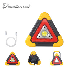 COB Triangle Warning Traffic Light Solar Rechargeable DC5V 20W Outdoor Portable Handle Car Repair LED Work Easy Carry
