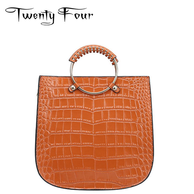 Twenty-four Women Luxury Tote Bag Genuine Leather Lady Handbags Bag With Hard Ring Handle Alligator Cross Body Fashion Ring Bags dali 14 1 6а