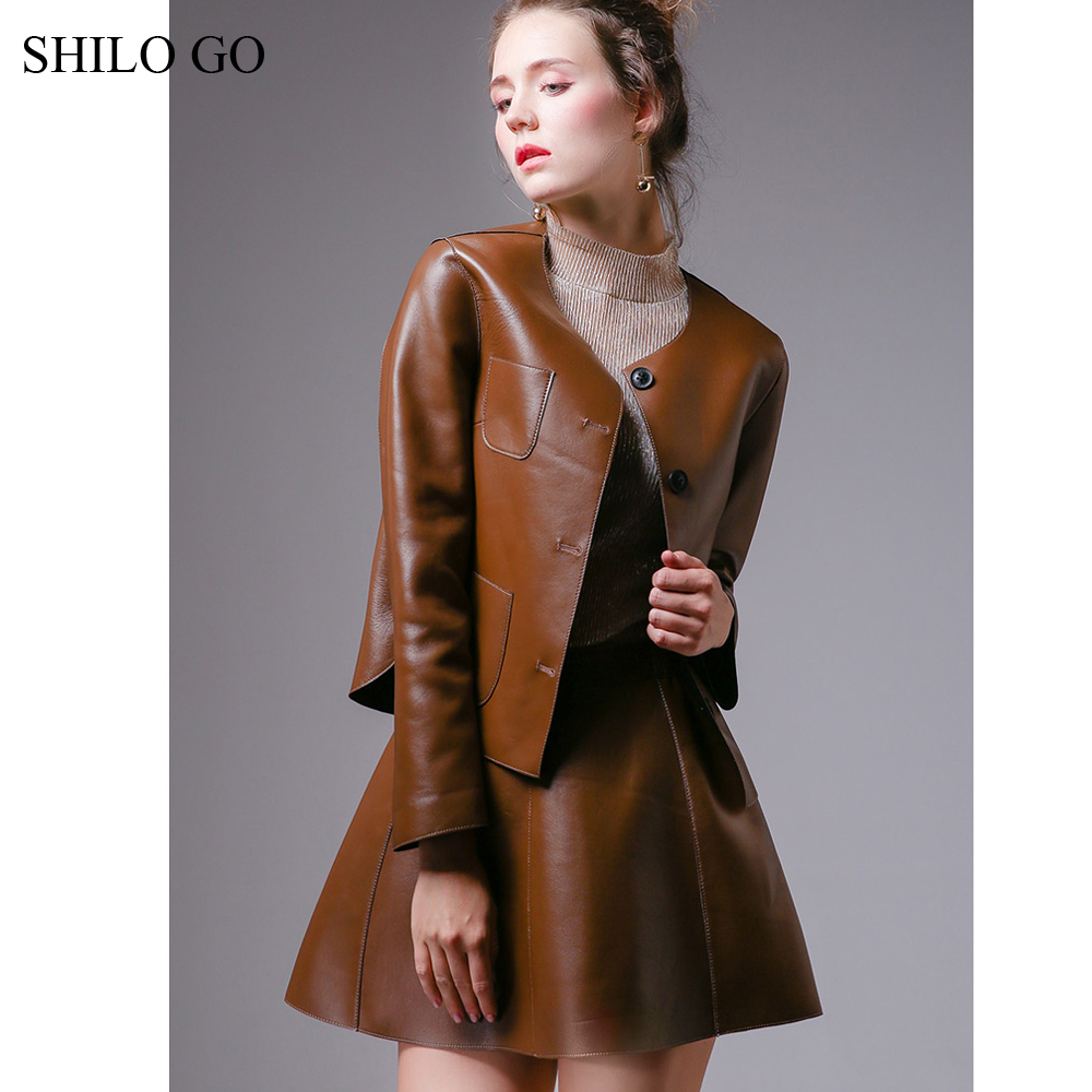 SHILO GO Leather Sets Womens Autumn Fashion Sheepskin Genuine Leather Suit O Neck Loose Single Breasted Jacket A Line Shirt