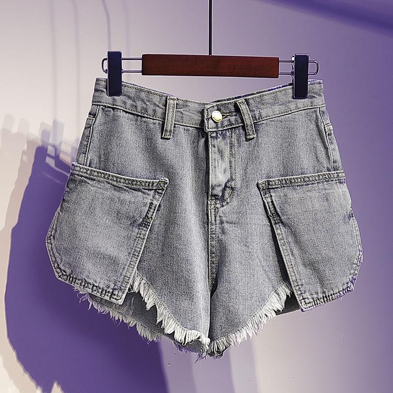 Denim Pocket Women Shorts Solid Blue Loose Wide Leg Sexy Tassel Night Club Lady Shorts Top Quality