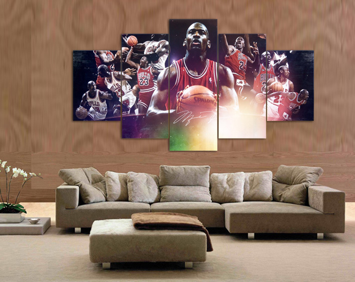 2016 Hot High Quality 5PCS Abstract Canvas Painting Michael Jordan ...