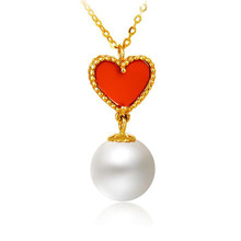 18K Gold AU750 Lovely Red Agate Heart Pendant Necklace 8mm 100% Genuine Natural Freshwater Pearl & For Women