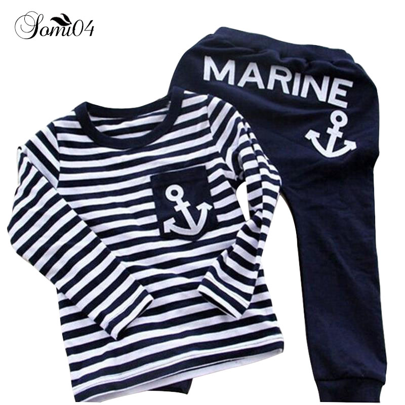 Spring Kids Clothes Navy Long Sleeve Pullover Tops Striped Pants Sports Suits Hot Sale New 2018 Autumn Casual Boys Clothing Sets