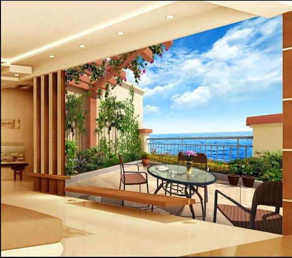 Personnalisé jardin mur papier, 3D balcon Jardin Méditerranéen pour ...