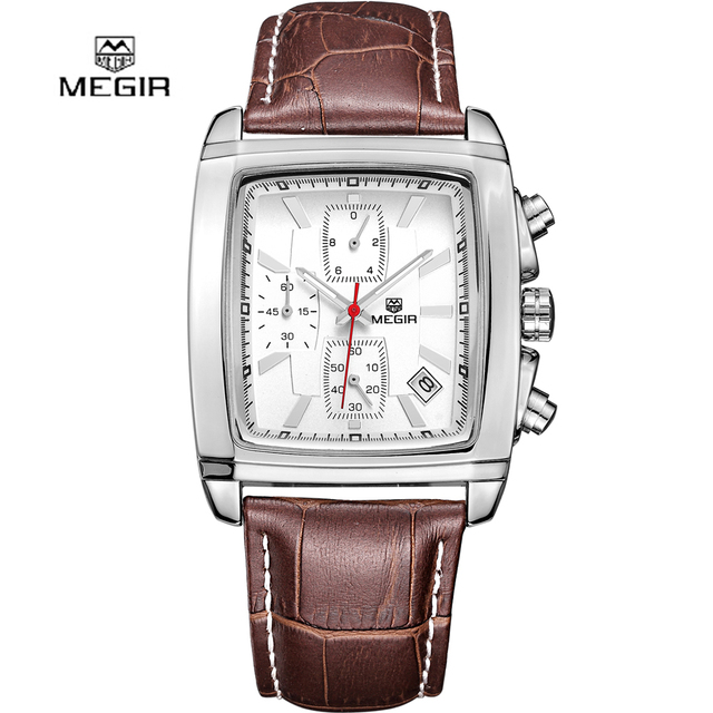 2016 new fashion square MEGIR brand chronograph men male army thin clock sport leather strap luxury wrist watch best gift 2028