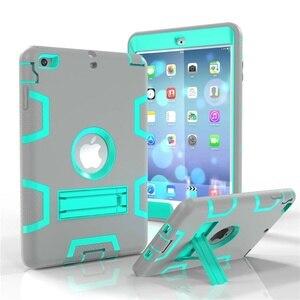 Image 3 - Moda pancerz Case dla iPad mini 1 2 3 Kid bezpieczne Heavy Duty silikonowa twarda okładka dla iPad mini 1 2 3 7.9 cal Tablet Case + Film + długopis