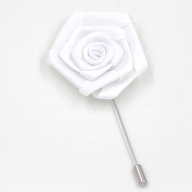 1 Buah Fashion Pria Terbaik Groom Boutonniere Warna Putih Pita Mawar Pernikahan Pesta Prom Pria Jas Lubang Kancing Pin Bros Bunga