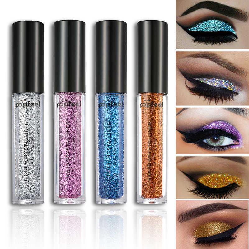 Sombra de ojos Popfeel, polvo de perla de diamante de Metal con láser, brillos, pigmento de cosméticos brillantes, maquillaje de larga duración TSLM1