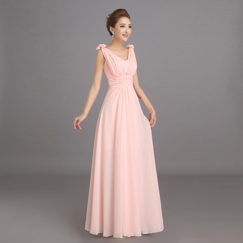Robe de soiree 2019 Peachy Pink Bridesmaid Dress Long Chiffon Party Prom Dresses Vestido De Festa De Casamento Dama De Honra