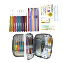Aluminium Crochet Hooks Set Rubber Handle Colorful Needle Sweater Knitting Needls DIY Clothes Scarf with Bag