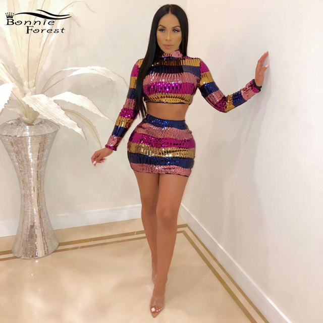 a3302617de94 Bonnie Forest Glitter Striped Sequins Mini Skirt Set Two Pieces Gorgeous  Long Sleeve Sequins Crop Top And Skirt Set Clubwears