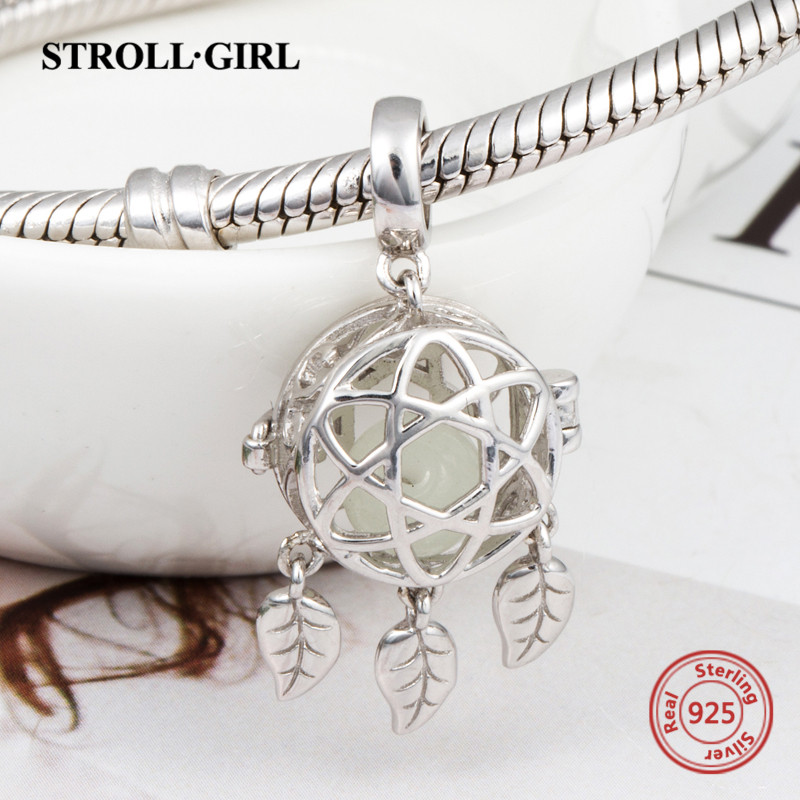 aliexpress 925 sterling silver charms dreamcatcher glowing pendant beads fit original pandora bracelets diy jewelry making gifts