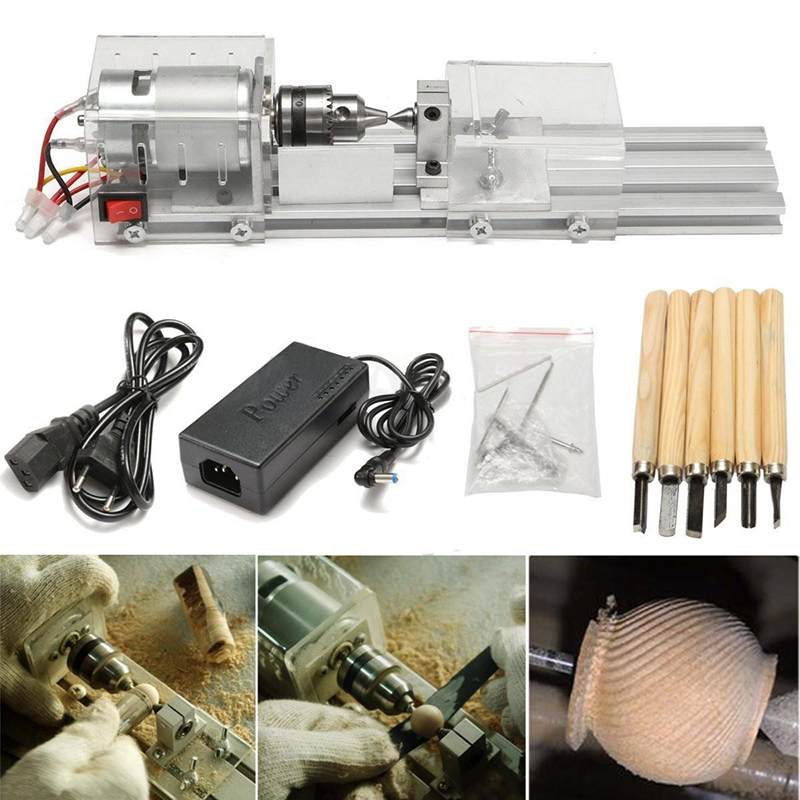 OSSIEAO  24V 80W Mini Lathe Beads Machine Polisher Table Woodworking Wood DIY Tools Set small micro beads polishing lathe cutting car beads machine mini diy woodworking turning lathe c00108