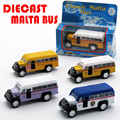 1/64 Scale Diecast Classic Mini Malta Bus, Kids Toys, 5cm Metal Car For Children/Boys As Gift/Souvenir With Pull Back Function