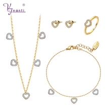 gold white rose gold color heart shaped copper romantic necklace earrings bracelet ring jewelry sets for women gift стоимость