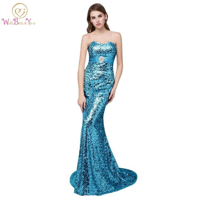 100% Real Photos Turquoise Blue Bridesmaid Dresses Silver Gold ...