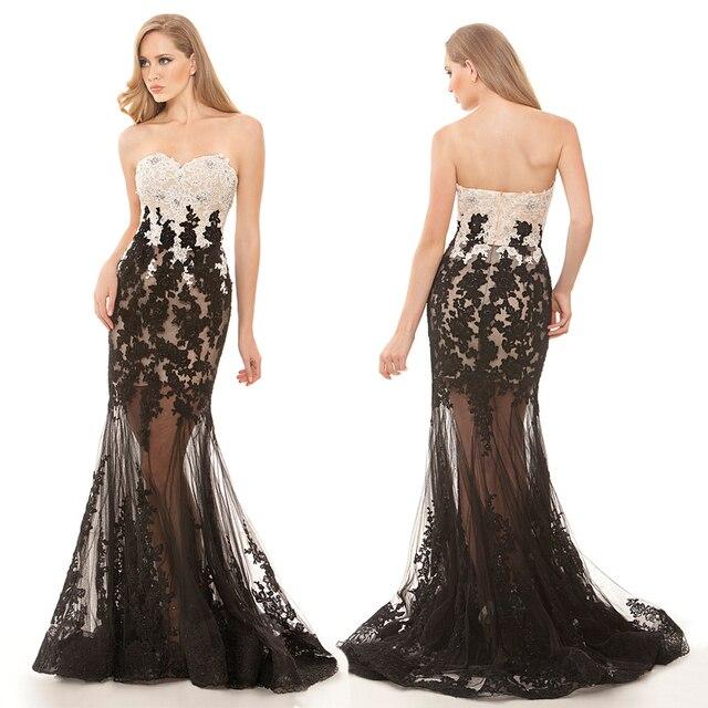 6def30936c9c Lungo sexy vedere attraverso tulle night party abito bianco e nero  appliques prom dresses off spalla