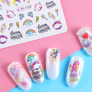 Image 2 - 12 Designs Unicorns Rainbow Sliders for Nails Watermark Sticker Wings Lovely Nail Art Decorations Manicure Tattoo LABN1057 1068