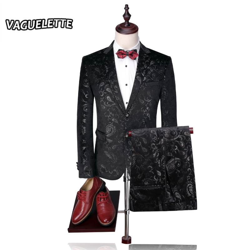 Blazer Pants Groom Wedding Suit Mens Print Paisley Floral Stage Wear For Singer Fashion Slim
