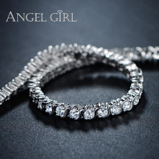 Angel Girl AAA+ Round Cubic Zirconia Tennis Bracelet for woman bracelets&bangles  for women plated bracelet manchette femme 4