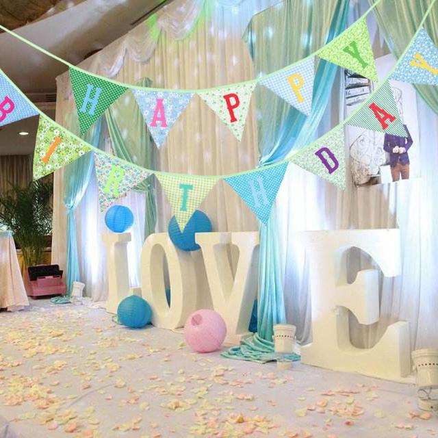 Happy Birthday Banners Cotton Fabric DIY Garland Decorations Gifts For Girl Boy Kids Favors Party Supplies