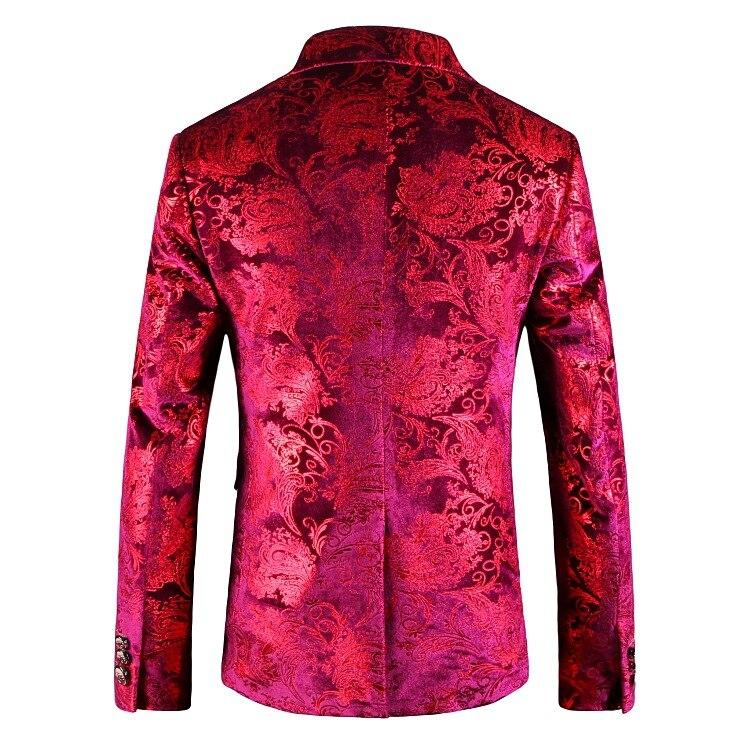망 붉은 꽃 재킷 재킷 2018 브랜드 뉴 싱글 브레스트 두 버튼 벨벳 정장 블레이저 남성 파티 웨딩 파티 무대 의상-에서블레이저부터 남성 의류 의  그룹 2