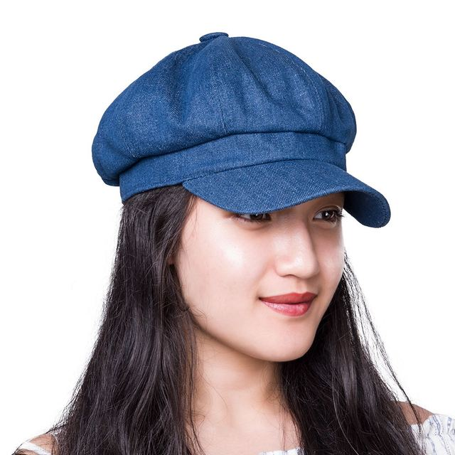 VOBOOM Cotton Irish Newsboy Cap Women Lady Summer Flapper Caps Denim Blue  Black Girl Female Hat 322 994cd5e1aa5