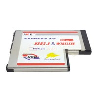 Wireless N WIFI Antenna Ethernet Network Card & USB 3.0 Socket Adapter Expansion Card Laptop 54mm Type II Express Card
