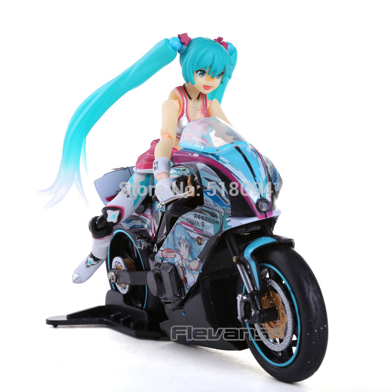 Anime Figma 233 Hatsune Miku with Motorcycle PVC Action Figure Collectible Toy 19CM figma ex 037 anime hatsune miku pvc action figure collectible model toy 12cm kt3758