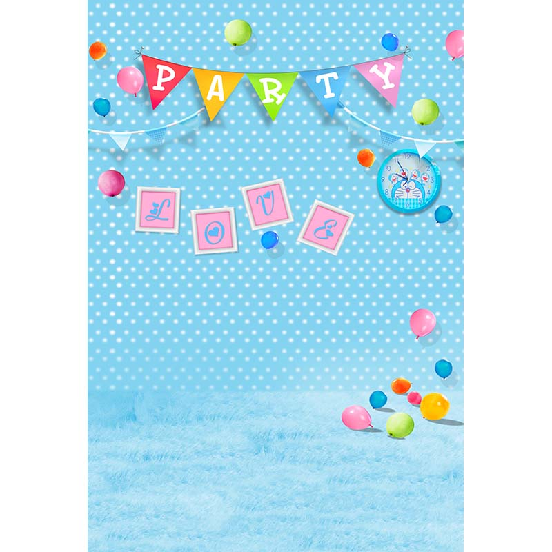 Birthday party vinyl cloth balloon blue polka dots wall photography backdrops for children baby photo studio portrait background
