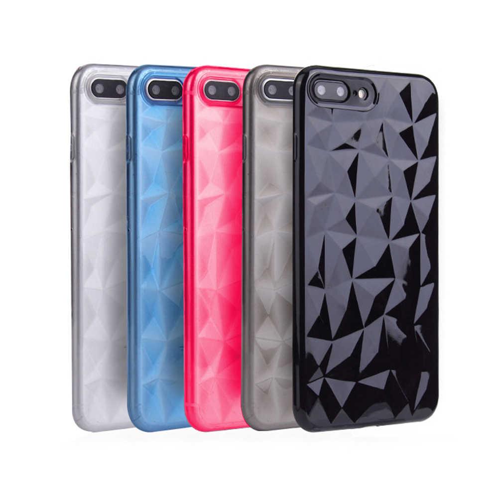 Luksusowe 3D diament tekstury skrzynka dla iPhone 6 6 s 7 8 Plus X XS MAX miękkie telefon pokrywa dla iPhone 7 przezroczyste etui Ultra cienki Coque