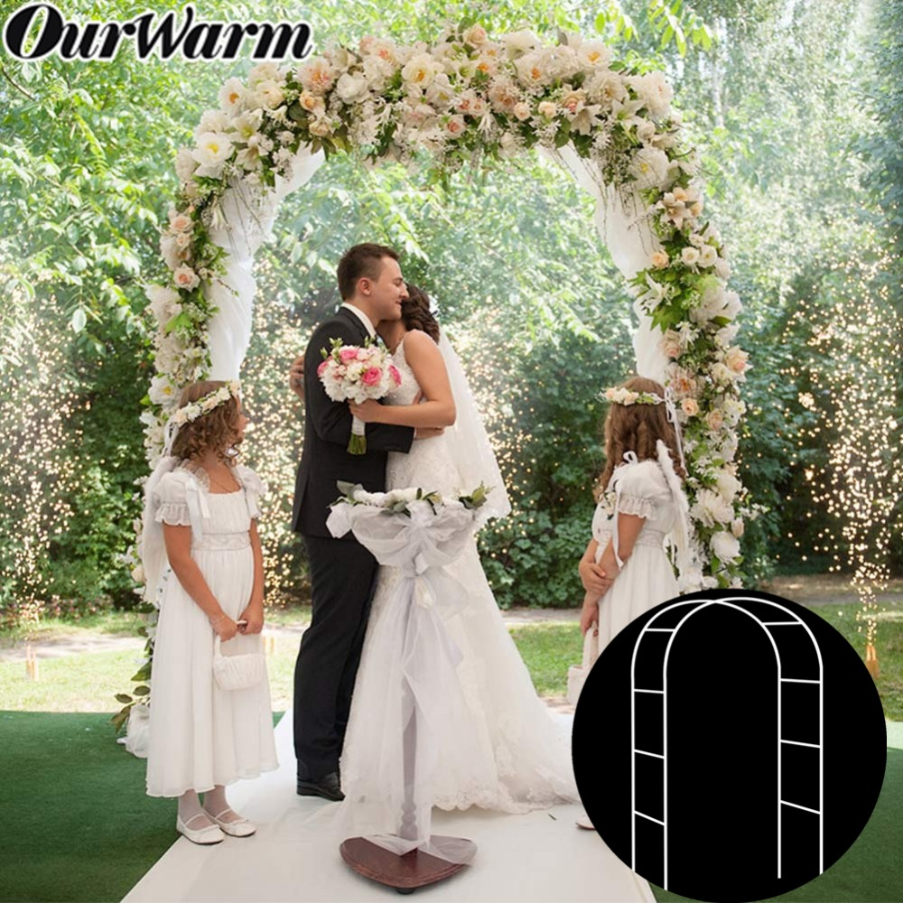 OurWarm Metal Wedding Arch Flower Photo Door Backdrop Round Garden Plant Arch Bride Groom Rustic Wedding Party Favors Decoration