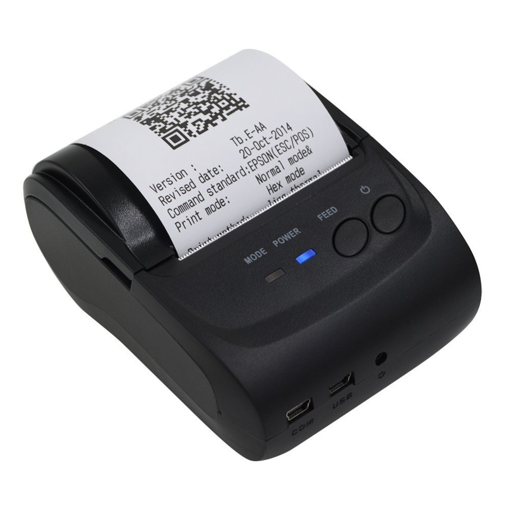 Prise AU 58mm imprimante de poche Mini imprimante Bluetooth prise en charge thermique de l'imprimante pour IOS pour Android pour Windows