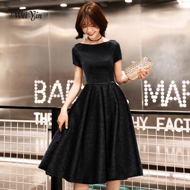 Weiyin New Arrival Short Evening Dress 2019 Elegant Banquet Short Sleeves Prom Dresses Party Dress O-Neck Formal Evening Dresses