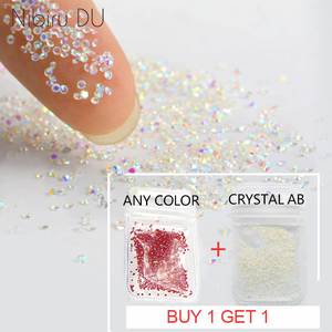 Buy 1 get free 1 Crystal 1.1mm Nail Rhinestone Crystal Glass Micro Rhinestones For 3D Nails Art Decorations Manicure Tools(China)