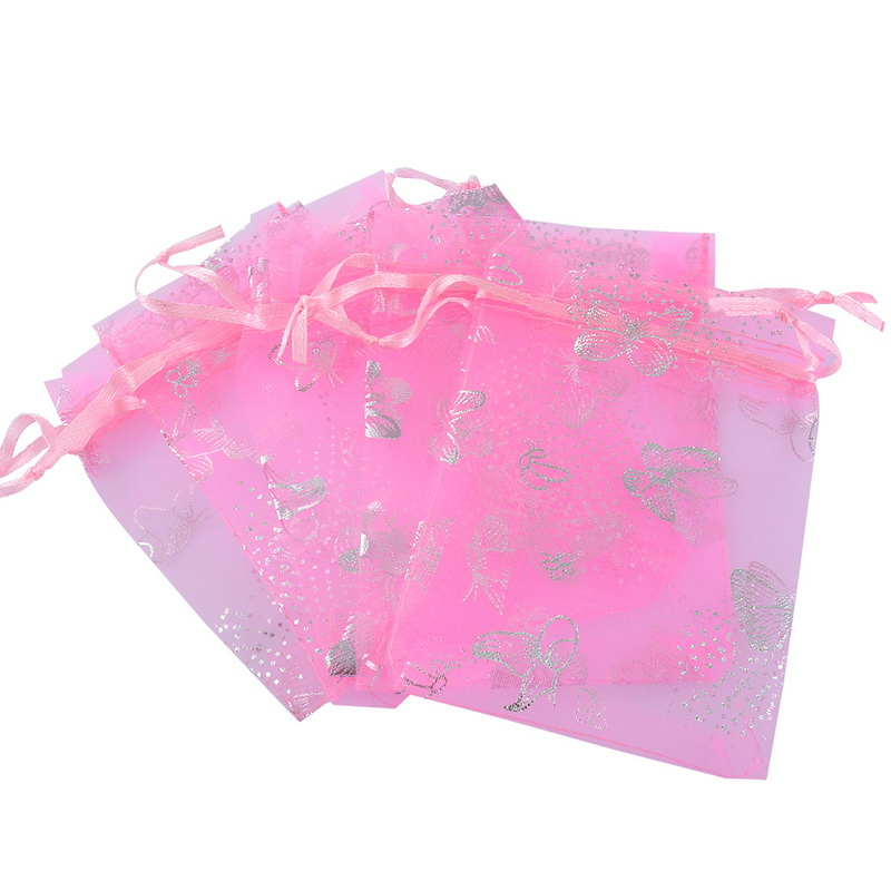 25pcs 9x12cm Pink Butterfly Organza Gift Pouch Bags Wedding X-mas Favor Cute Makeup Organizer Travel Sundries Storage Bags