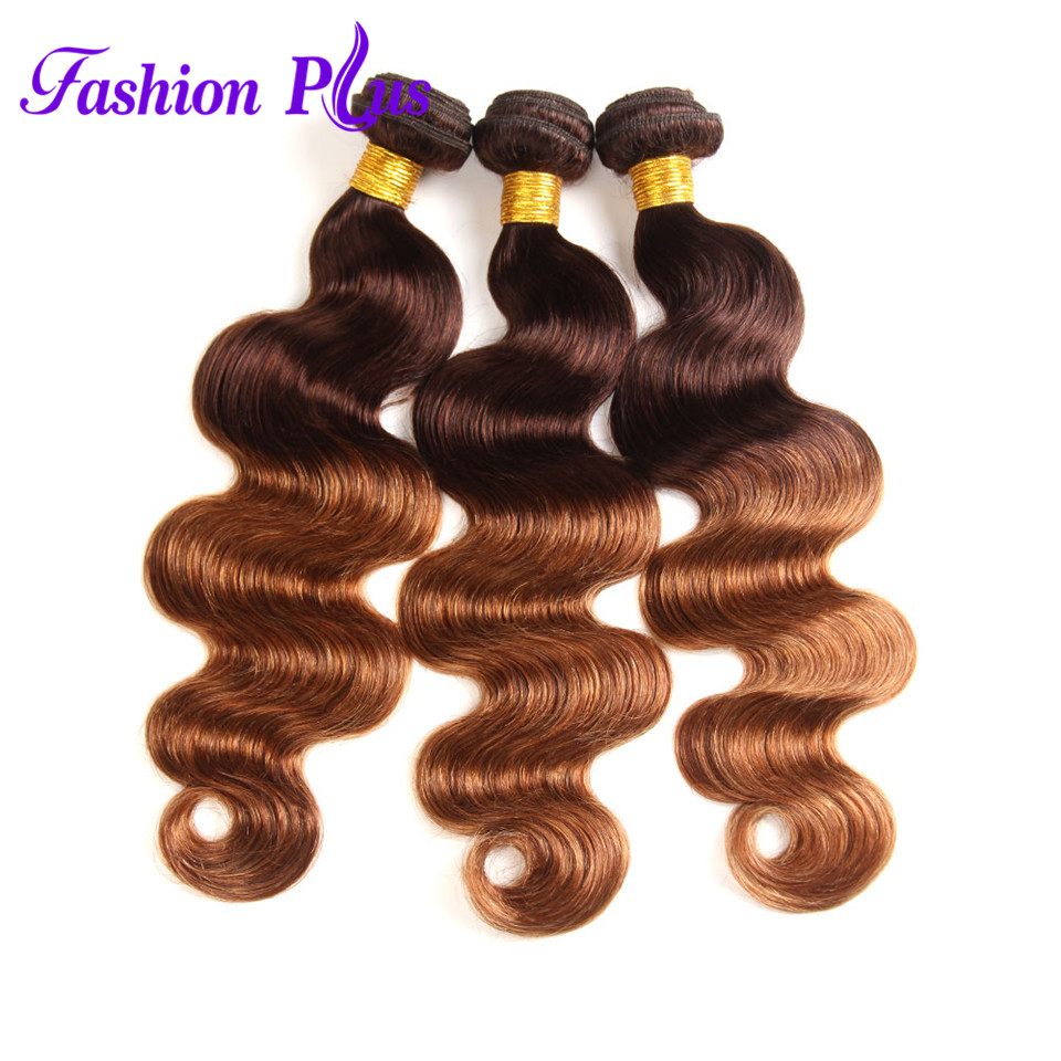 Fashion Plus Ombre Brasilian Hair Body Wave T4 / 30 Human Hair Weave - Menneskehår (hvid) - Foto 2