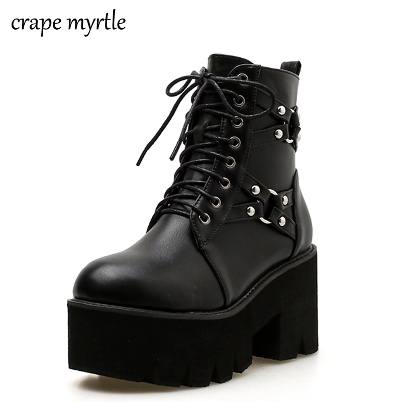 punk boots women ladies platform boots High Heel winter shoes motorcycle Ankle Boots waterproof snow boots lace up shoes YMA527