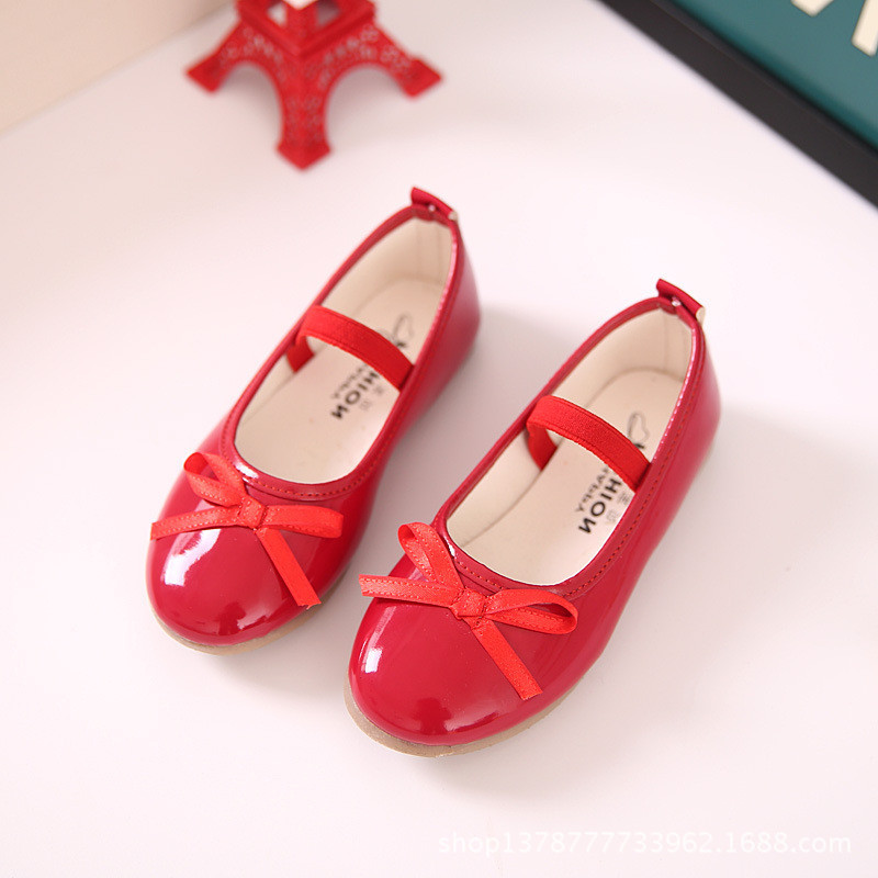 New Spring/Autumn Children Black Leather Shoes Girls Princess Pink Red Dance Shoes Flats Party Baby Toddler Shoes Kids Shoes