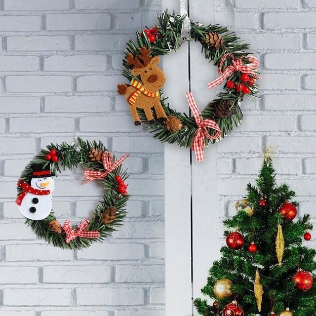 2018 Christmas Wreath Wood Christmas Decor For Home Santa Snowman ...