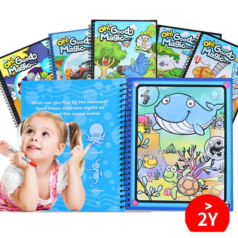 2 * libro 21*17 cm Magia Acqua Disegno del Libro con la Penna Pittura Carta di Libro Da Colorare Educativi Giocattoli di Doodle bordo (di sicurezza/in Grado di Ri-uso)