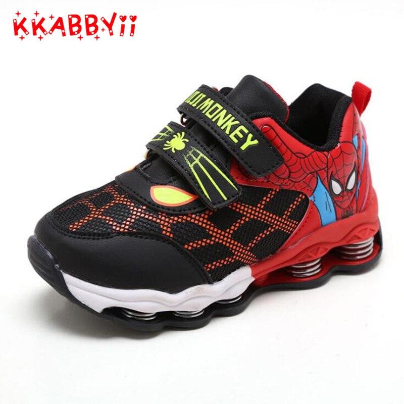 Nueva primavera otoño niños Zapatos Spiderman noche flash deportes sneakers luz Zapatos para niños zapatilla Niños botas Niñas