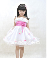 Silk Chiffon Girls Party Dress Flower Girls Princess Dresses Red And Purple Children Kid Clothes