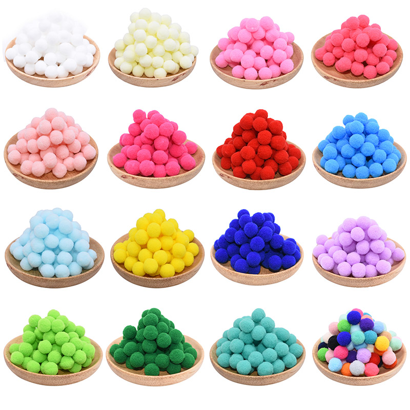<font><b>100Pcs</b></font> 10/15/<font><b>20</b></font>/25mm Mini Fluffy Soft Pom Poms Pompoms Ball Handmade Kids Toys Wedding Decor DIY Sewing Craft Supplies image