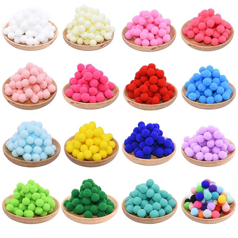 100Pcs 10/15/20/25mm Mini Fluffy Soft Pom Poms Pompoms Ball Handmade Kids Toys Wedding Decor DIY Sewing Craft Supplies