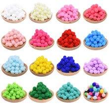 100 Uds 10/15/20/25mm Mini bolas para pompones suaves hechos a mano niños Juguetes Decoración de la boda DIY suministros para manualidades de costura